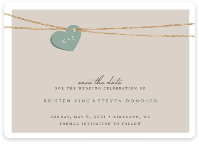 This is a landscape rustic, green Save the Dates by Jennifer Postorino called Tangled Love with Standard printing on Magnet Paper in Magnet Flat Card format. A sweet heart with you and your fiances initials on it is delicately strung ...