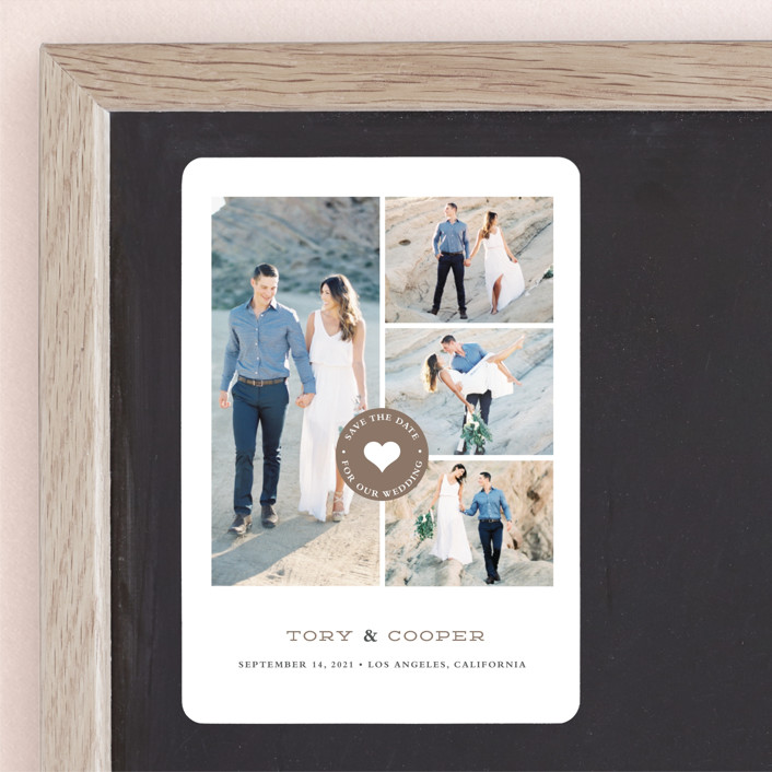 """""""Stamped Heart"""" - Modern Save The Date Magnets in Mocha by Stacey Meacham."""