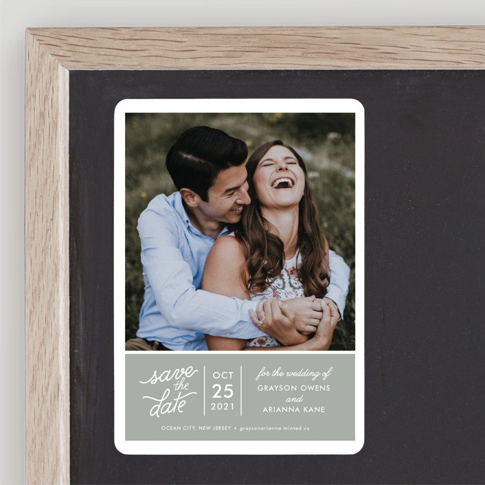 """""""Sweet & Modern"""" - Save The Date Magnets in Smoke by Jill Means."""