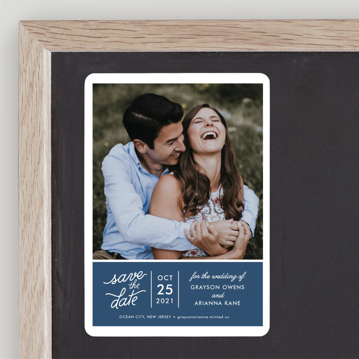 """""""Sweet & Modern"""" - Save The Date Magnets in Navy by Jill Means."""