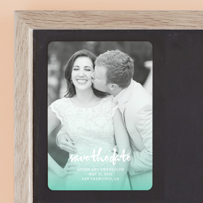 """Ombre Tidings"" - Bohemian Save The Date Magnets in Turquoise by Paper Dahlia."