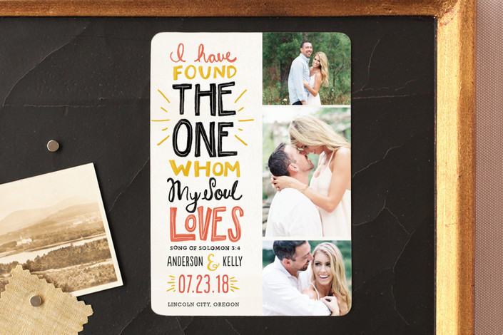 """""""My Soul Loves"""" - Bold typographic, Hand Drawn Save The Date Magnets in Coral by Pistols."""