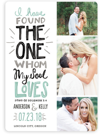 This is a portrait bold typographic, hand drawn, green Save the Dates by Melissa Egan of Pistols called My Soul Loves with Standard printing on Magnet Paper in Magnet Flat Card format. Bold colors, playful type, and a powerful and ...