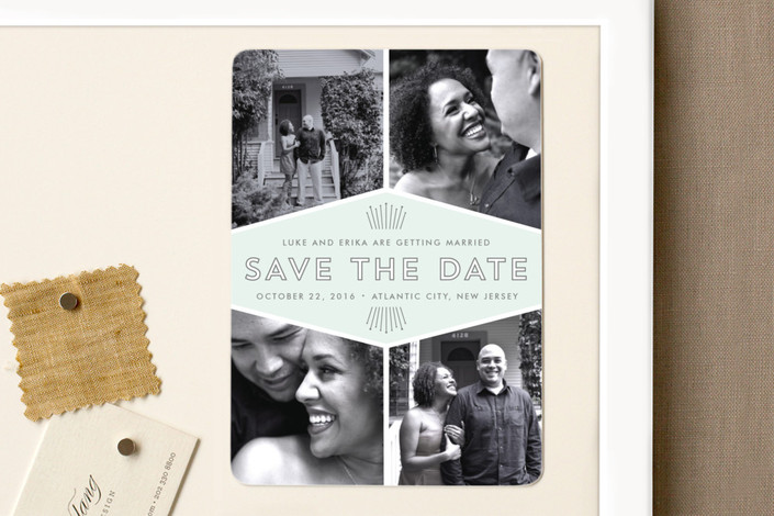 """Mod Deco"" - Vintage Save The Date Magnets in Mint by Sarah Brown."