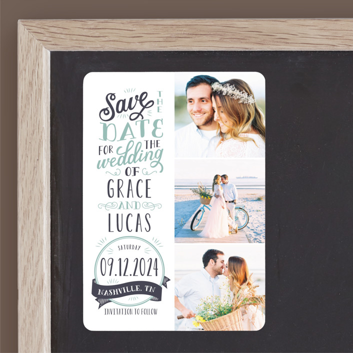 """""""Serendipitous"""" - Rustic Save The Date Magnets in Pool by Sarah Brown."""