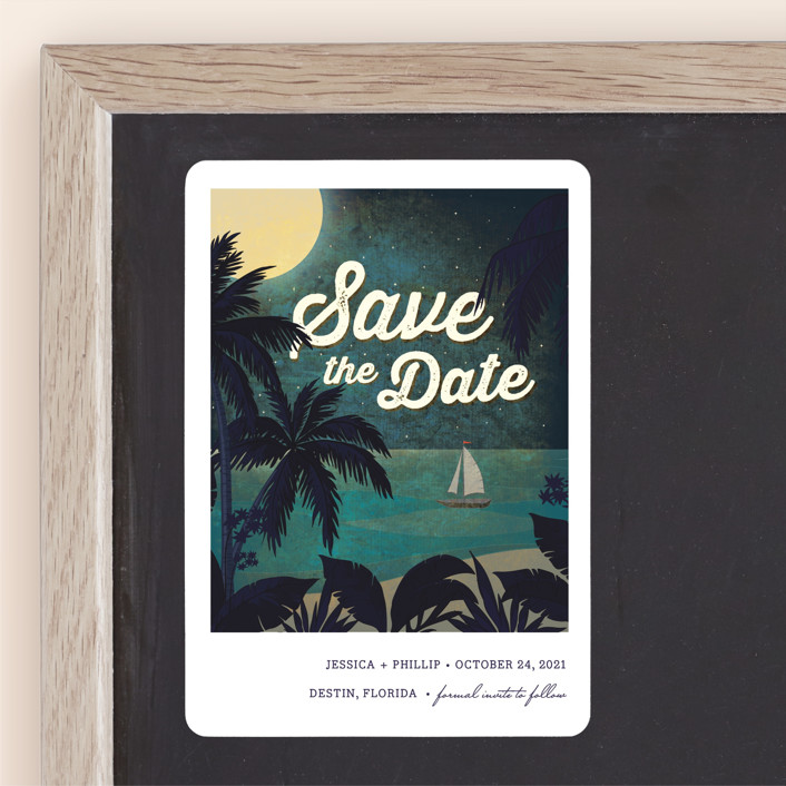 """""""At Dusk"""" - Save The Date Magnets in Bark by Rebecca Bowen."""