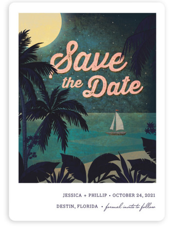 This is a portrait illustrative, blue, pink Save the Dates by Rebecca Bowen called At Dusk with Standard printing on Magnet Paper in Magnet Flat Card format. This save the date is on the beach under the stars.