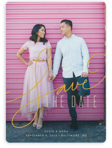 This is a portrait, square orientation bold and typographic, gold Save the Dates by Jessica Williams called Signature with Standard printing on Magnet Paper in Magnet Flat Card format. Handwritten script is paired with clean modern type on this save ...