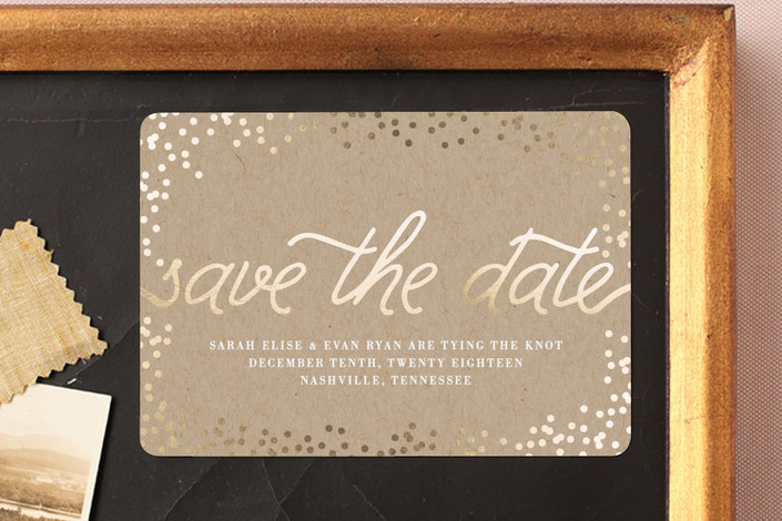 """""""Starlight"""" - Bohemian Save The Date Magnets in Kraft by Saltwater Designs."""