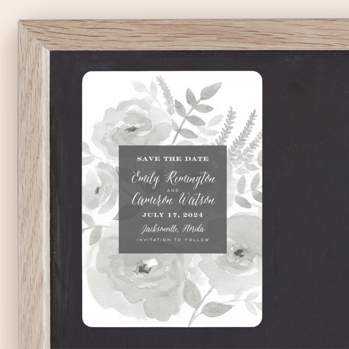 """""""Watercolor Floral"""" - Save The Date Magnets in Fog by Jill Means."""