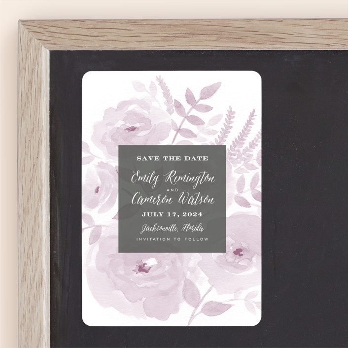 """Watercolor Floral"" - Save The Date Magnets in Lilac by Jill Means."