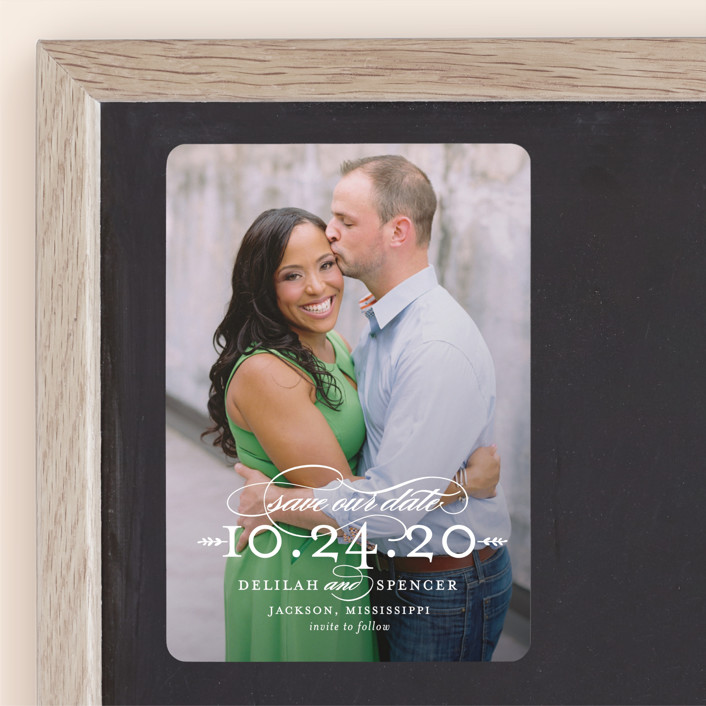 """""""Classically"""" - Save The Date Magnets in Pearl by Sarah Brown."""