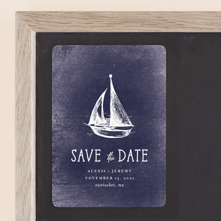"""""""Nautical"""" - Preppy Save The Date Magnets in Navy by Rebecca Bowen."""