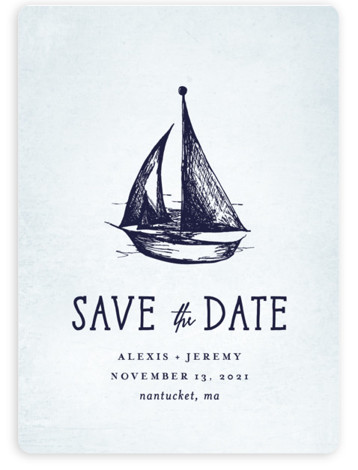 This is a portrait preppy, blue Save the Dates by Rebecca Bowen called Nautical with Standard printing on Magnet Paper in Magnet Flat Card format. Getting ready for the regatta