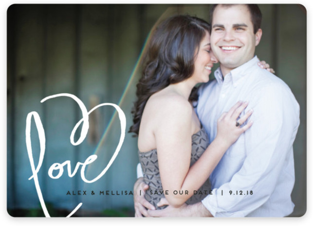 This is a landscape elegant, full bleed photo, hand drawn, white Save the Dates by Kelly Ventura called Love + Heart with Standard printing on Magnet Paper in Magnet Flat Card format. Announce your special day with this hand painted ...