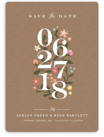 This is a portrait rustic, brown, colorful Save the Dates by Jennifer Wick called Climbing Roses with Standard printing on Magnet Paper in Magnet Flat Card format. Climbing roses envelope the staggered elegant numbers for a beautiful non photo save ...
