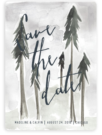 This is a portrait destination, hand drawn, watercolor, black, grey Save the Dates by Mere Paper called Tall Trees with Standard printing on Magnet Paper in Magnet Flat Card format. This save the date card features a whimsical forest illustration ...