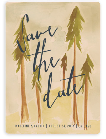 This is a portrait destination, hand drawn, watercolor, orange Save the Dates by Mere Paper called Tall Trees with Standard printing on Magnet Paper in Magnet Flat Card format. This save the date card features a whimsical forest illustration for ...