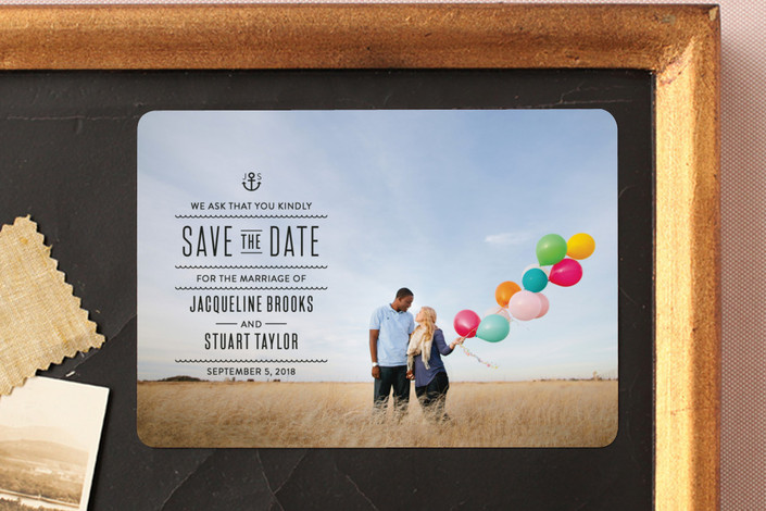 """""""Tie The Knots Nautical"""" - Full-Bleed Photo, Destination Save The Date Magnets in Ink by Maddy Hague."""