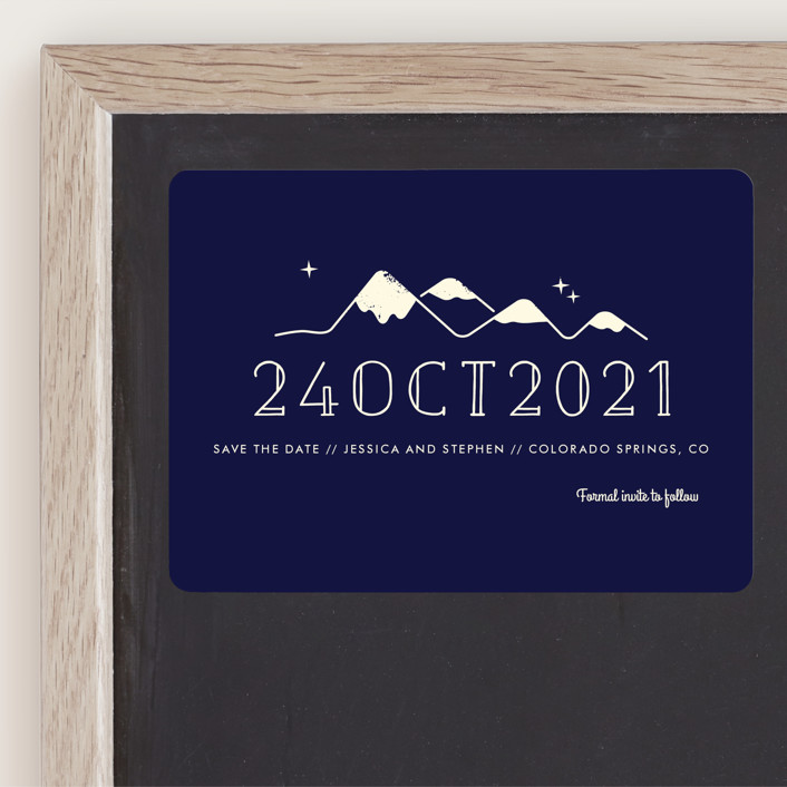 """""""Retro Plates"""" - Save The Date Magnets in Navy by Rebecca Bowen."""