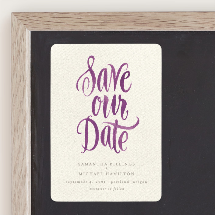 """Painted Simplicity"" - Bohemian Save The Date Magnets in Turquoise by Laura Bolter Design."