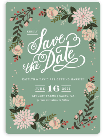 This is a portrait rustic, green Save the Dates by Kristen Smith called Cottage Florals with Standard printing on Magnet Paper in Magnet Flat Card format. Hand painted florals on kraft