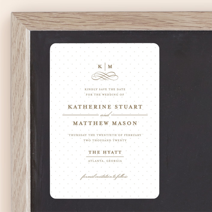 """""""A Glamorous Affair"""" - Preppy Save The Date Magnets in Golden by Kristen Smith."""