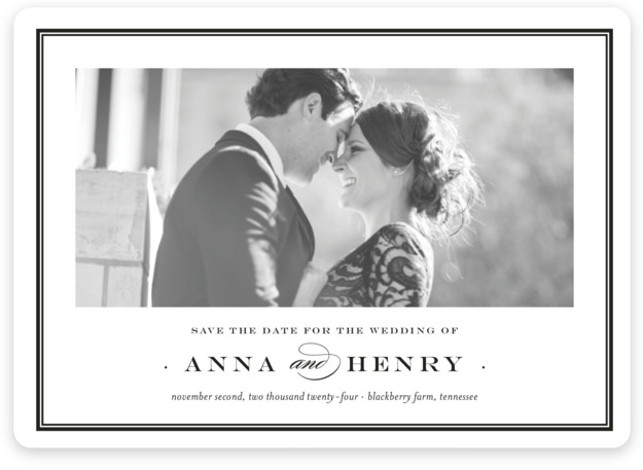 This is a landscape classic and formal, black and white Save the Dates by Toast & Laurel called Field with Standard printing on Magnet Paper in Magnet Flat Card format.
