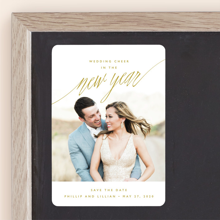 """New Adventures"" - Modern Save The Date Magnets in Gold by Oscar & Emma."