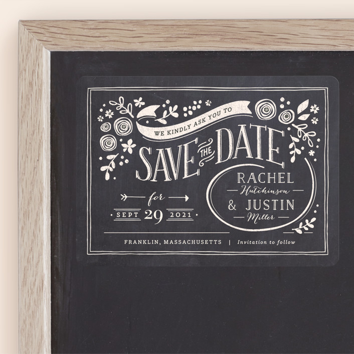 """Alabaster Florals"" - Rustic Save The Date Magnets in Slate by Jennifer Wick."