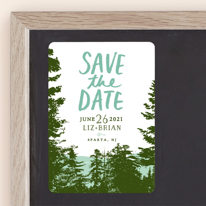 """""""Mountain View"""" - Save The Date Magnets in Pine Green by Ariel Rutland."""