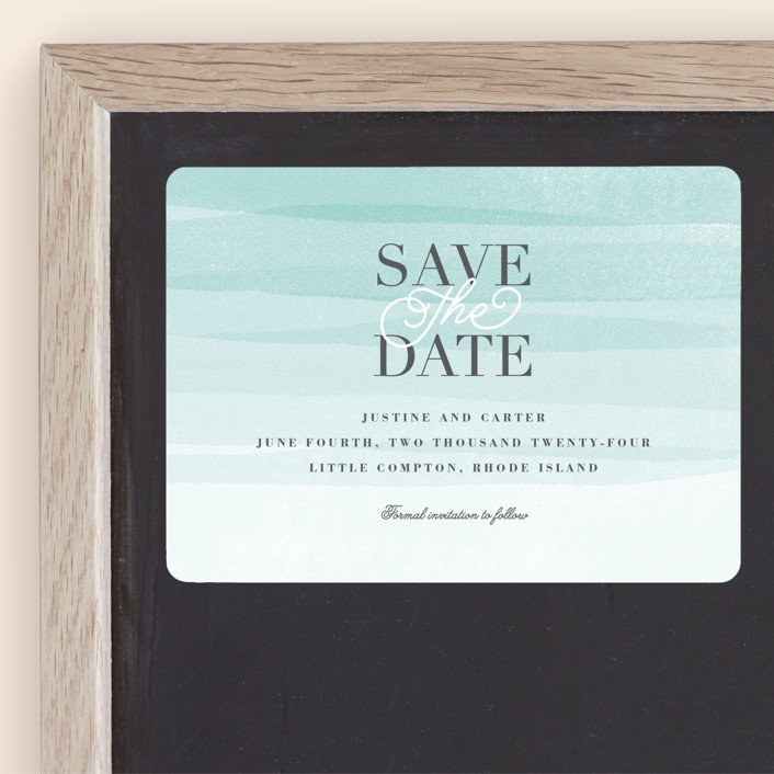 """""""Old Post Road"""" - Save The Date Magnets in Sea Salt by Jennifer Wick."""