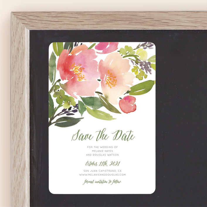 """""""Watercolor Floral"""" - Save The Date Magnets in Rose by Yao Cheng Design."""