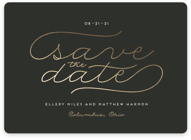 This is a landscape modern, black Save the Dates by Cheer Up Press called Modern Metal with Standard printing on Magnet Paper in Magnet Flat Card format. This metals inspired foil design features a dark grey background with pretty copper ...