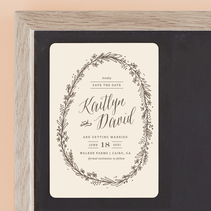 """""""Wildflower Frame"""" - Rustic Save The Date Magnets in Earth by Kristen Smith."""