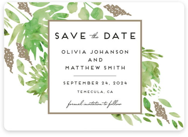 This is a landscape botanical, green Save the Dates by Petra Kern called Watercolor Delight with Standard printing on Magnet Paper in Magnet Flat Card format. Our most popular Save the Date designs are now available as beautiful, high quality ...