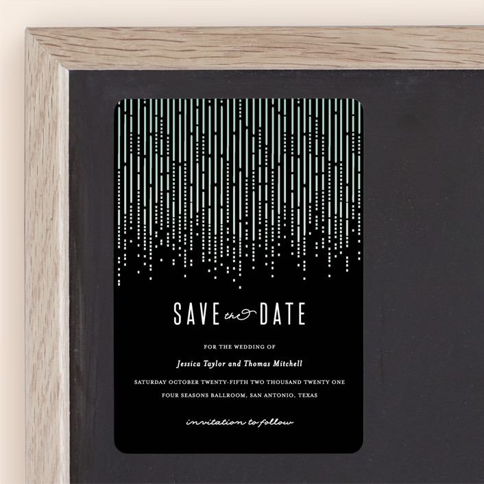 """""""Crystal Curtain"""" - Vintage Save The Date Magnets in Noir by Rebecca Bowen."""