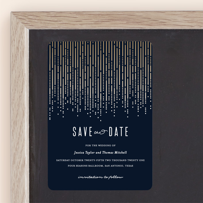 """""""Crystal Curtain"""" - Vintage Save The Date Magnets in Navy by Rebecca Bowen."""