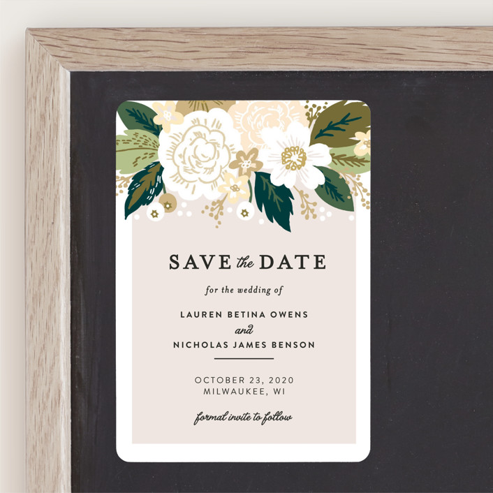 """Classic Floral"" - Save The Date Magnets in Cream by Alethea and Ruth."