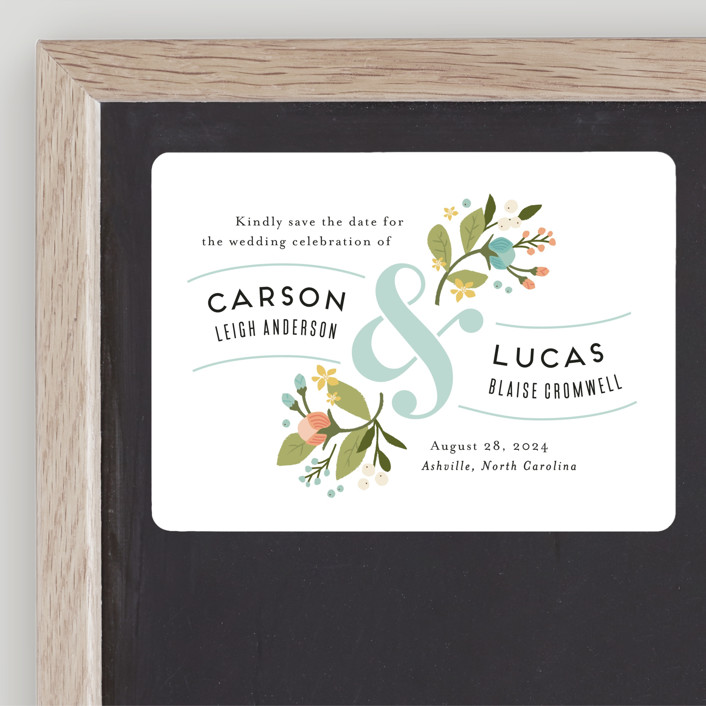 """""""Floral Ampersand"""" - Save The Date Magnets in Sea Breeze by Jennifer Wick."""