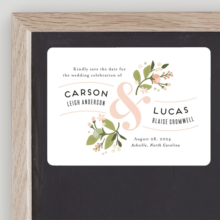 """""""Floral Ampersand"""" - Save The Date Magnets in Rosebud by Jennifer Wick."""