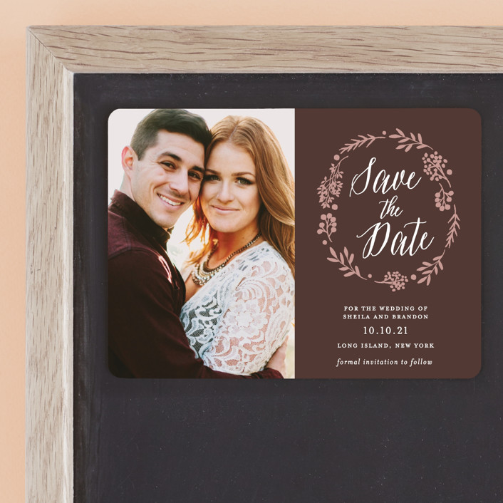 """""""Rustic Modern Floral"""" - Rustic Save The Date Magnets in Mocha by Gray Star Design."""
