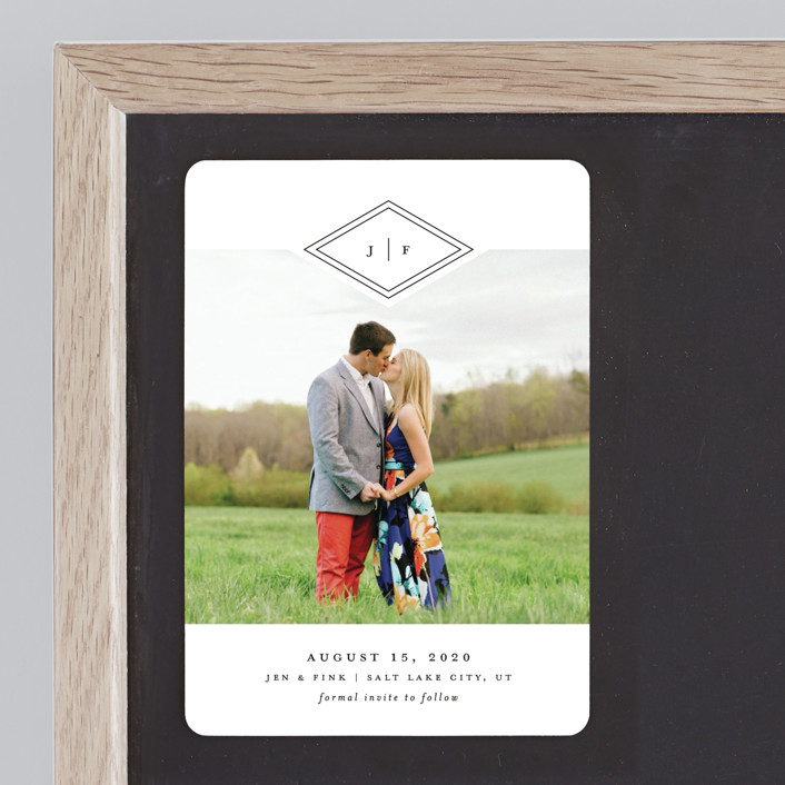 """Looking Sharp"" - Modern Save The Date Magnets in Cotton by Stacey Meacham."