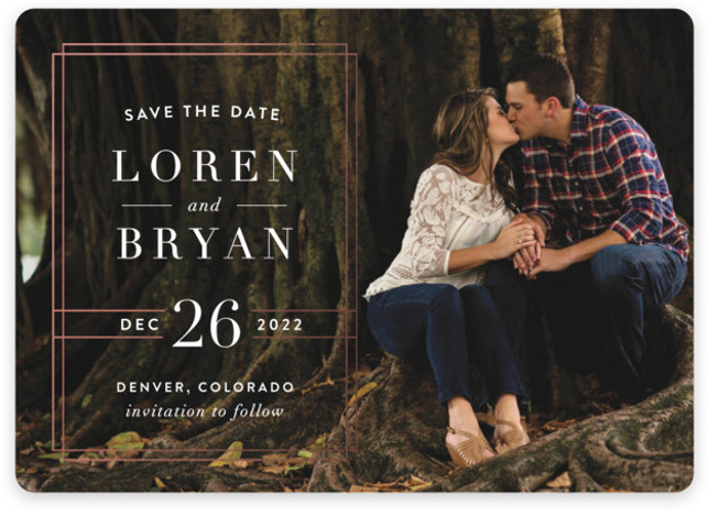 This is a landscape, portrait modern, pink Save the Dates by Alyssa Graves called Modern Elegance with Standard printing on Magnet Paper in Magnet Flat Card format. Inspired by elements in a historic opera house near Detroit, MI, this sophisticated ...