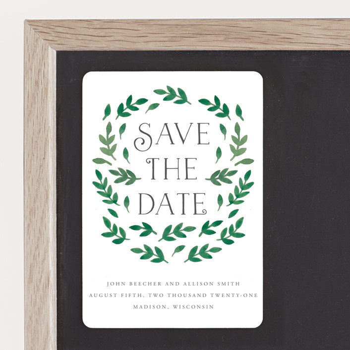 """""""Painted Leaves"""" - Save The Date Magnets in Leaves by Katharine Watson."""