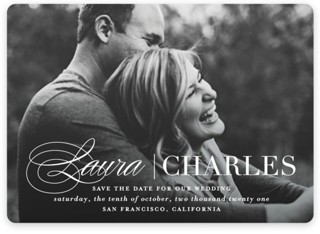 This is a landscape, portrait classic and formal, white Save the Dates by Lauren Chism called Darling + Dapper with Standard printing on Magnet Paper in Magnet Flat Card format. A feminine script paired with masculine type creates the perfect ...