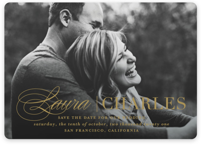 This is a landscape, portrait classic and formal, gold Save the Dates by Lauren Chism called Darling + Dapper with Standard printing on Magnet Paper in Magnet Flat Card format. A feminine script paired with masculine type creates the perfect ...