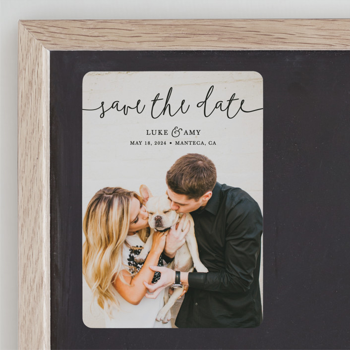 """""""Pretty Love"""" - Save The Date Magnets in Onyx by Christine Taylor."""