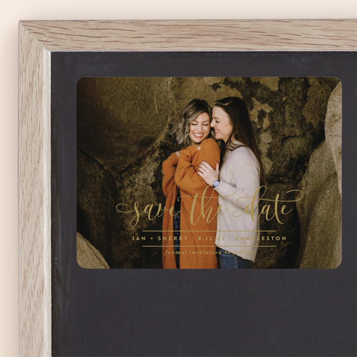"""""""Statement"""" - Save The Date Magnets in Caramel by Lauren Chism."""