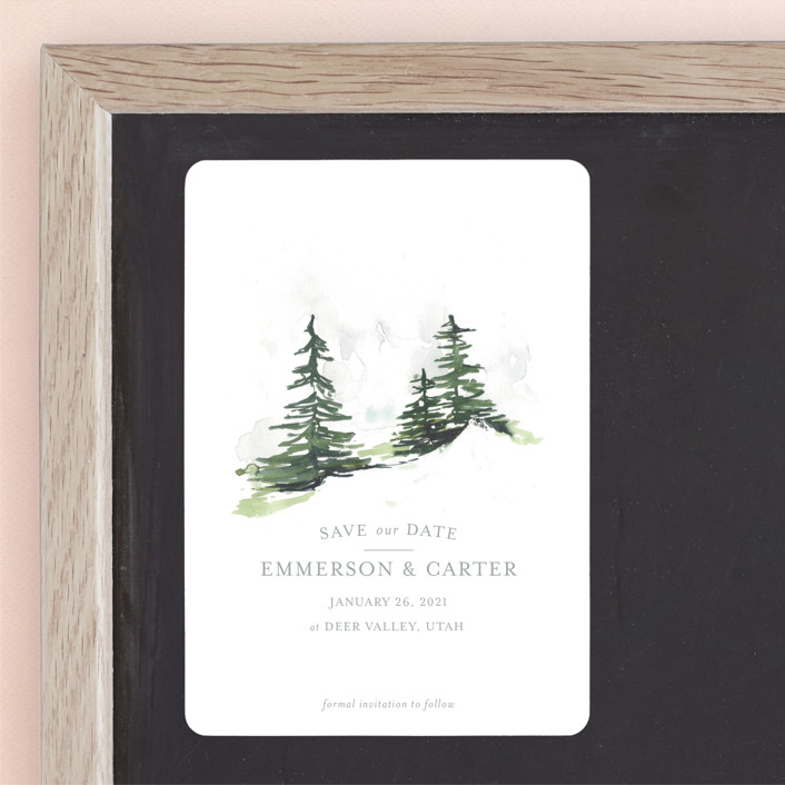 """On the Slopes"" - Rustic Save The Date Magnets in Fog by Mere Paper."